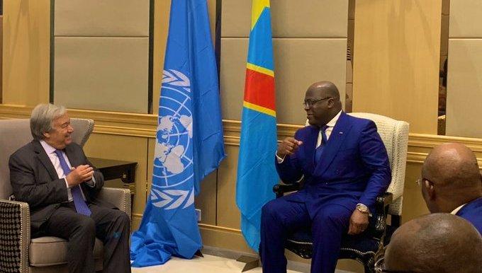 RDC : Antonio Guterres est reçu par Tshisekedi au Palais de la Nation