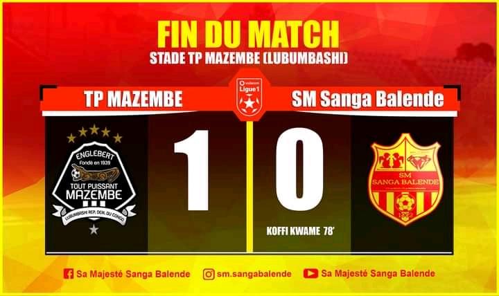 SPORTS/Vodacom D1: Mazemba bat Sanga Balende et reprend la tête du classement